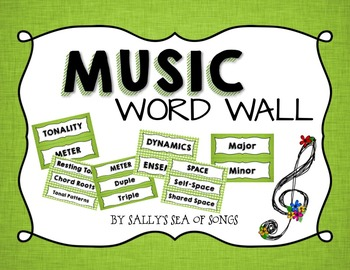 Music Word Wall - Green & Gingham - Coordinates with Teal