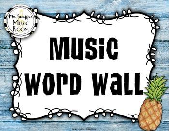 Music Word Wall {Hawaiian Tiki Beach} {Editable}