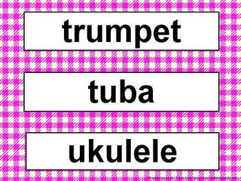 Music Word Wall Kit Fushia Gingham