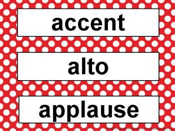 Music Word Wall Kit Red Polka Dots
