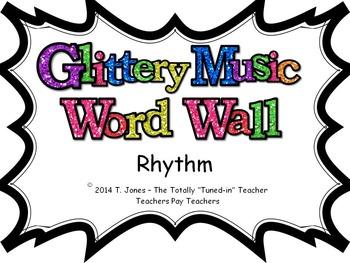 Music Word Wall -  Rhythm Set in glittery lavender