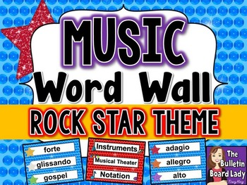 Music Word Wall - Rock Star Theme