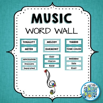 Music Word Wall - Teal & Blooms - Teal & Gingham