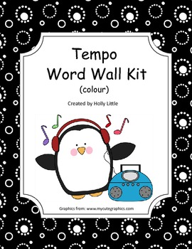 Music Word Wall - Tempo (black and white)