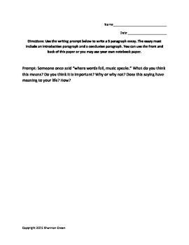 Music Writing Prompt: Essay