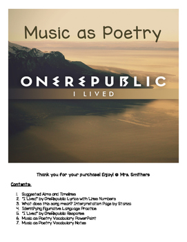 "Music as Poetry: ""I Lived"" by OneRepublic (Figurative lang"
