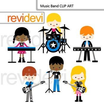 Music clip art: music band, kids playing instruments, rockstar