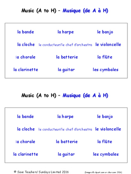 Music in French Worksheets
