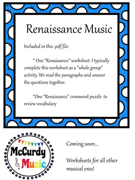 Music in the Renaissance - a lesson for Middle Schoolers!