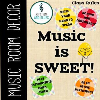 Music is SWEET! Music Room Theme - Classroom Procedures, R