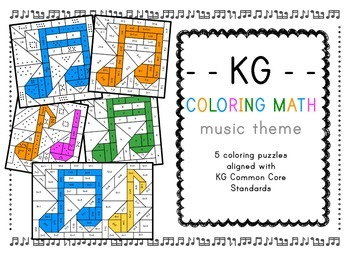 Music themed coloring math  for KG - count, compare, add a