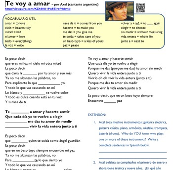 """Simple Future in music (video/song lyrics)-Axel: """"Te voy a amar"""""""
