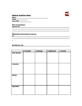 Musical Audition Form