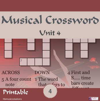 Musical Crossword Unit 4