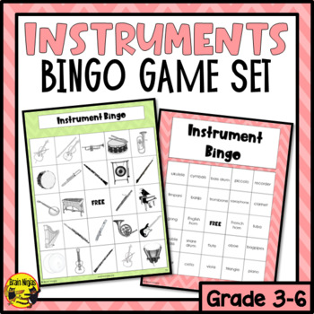 Musical Instruments Bingo Game