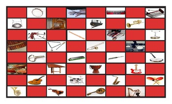 Musical Instruments Checker Board Game