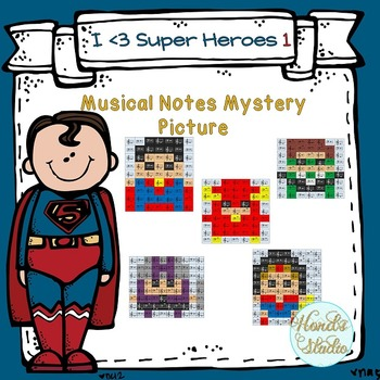 Musical Notes Mystery Picture ( I love Super Heroes 1)