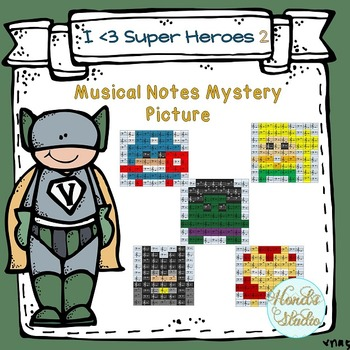 Musical Notes Mystery Picture ( I love Super Heroes 2)