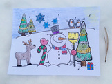 Musical Snowman Color Sheet: Treble Clef Notes & Basic Not