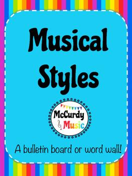 Musical Styles Rainbow Word Wall / Bulletin Board / Half s