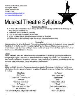 Hamilton Themed Musical Theatre Class Syllabus