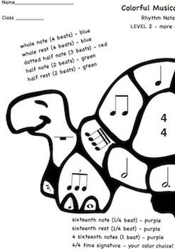 Musical Turtles Color Sheets -Basic Rhythm Notation