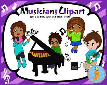 Musician Digital Clip art (Blacklines included)