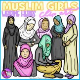 Muslim girls in hijabs clip art