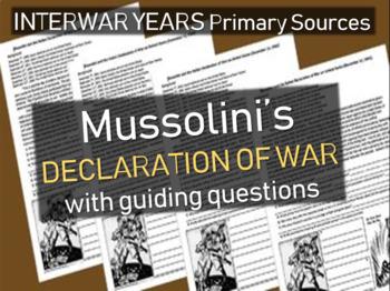 Mussolini & Fascism: primary source doc w/ guiding Qs: Dec