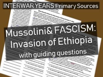 Mussolini & Fascism: primary source document w guiding Qs