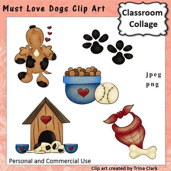 Must Love Dogs Clip Art - color - personal & commercial use