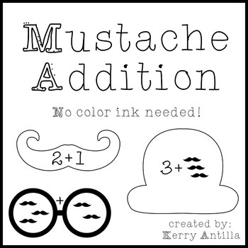 Mustache Addition Math Centers