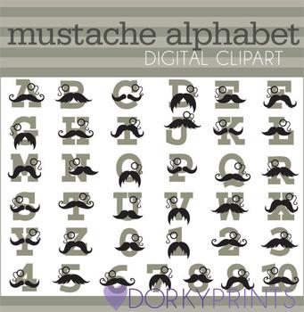 Mustache Alphabet Clip Art