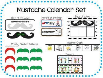 Mustache Calendar Set