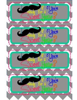 Mustache Chevron Beginning of Year Treat Bags