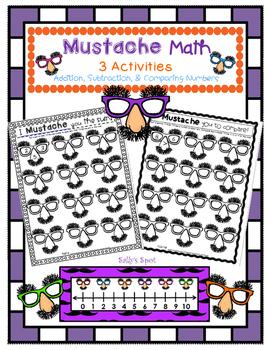 Mustache Math - 3 Activities - Addition, Subtraction, & Co