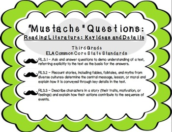 """""""Mustache"""" Questions: 3rd Grade CCSS Key Ideas and Details"""