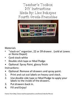 Mustache Teacher Toolbox Label Kit