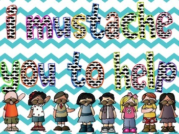 Mustache Theme Classroom Helpers Display for Pocket Chart