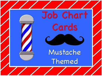 Mustache Theme Job Chart Cards / Signs - Great for Classro
