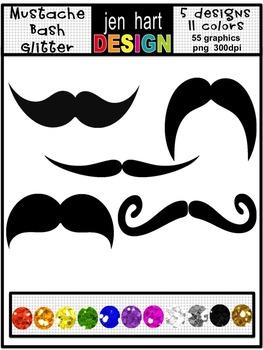 Mustache clip art graphics set GLITTER
