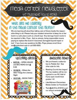 Mustache theme Library Media Center Newsletter template OR