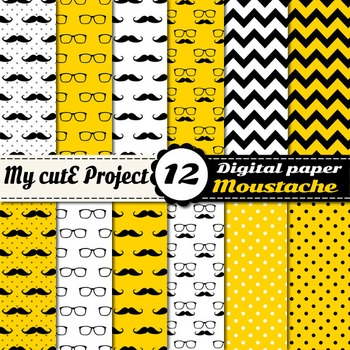 Mustaches and glasses Digital paper - Black, Yellow and Wh
