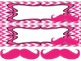 Mustaches on Pink Chevron Nameplates with bonus mustaches