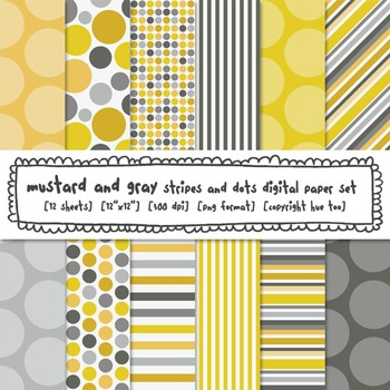 Mustard Yellow and Gray Stripes and Dots Digital Paper, fo