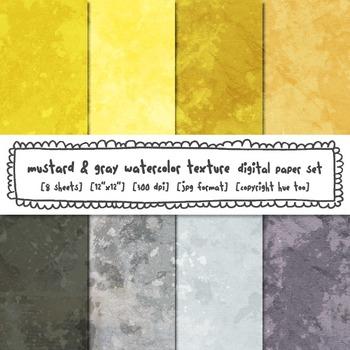 Mustard Yellow and Gray Watercolor Texture Digital Paper,