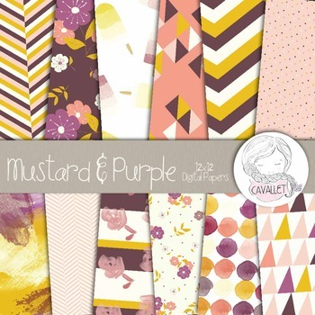 Mustard Yellow and Purple - Digital Papers