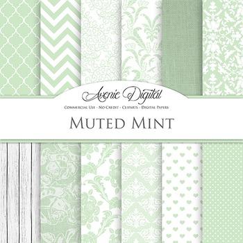 Muted Mint Wedding Digital Paper patterns - bridal green