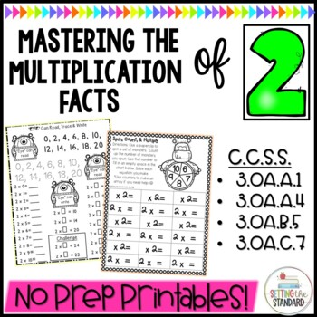 Multiplication Monsters- Practice For Facts of 2 Printables