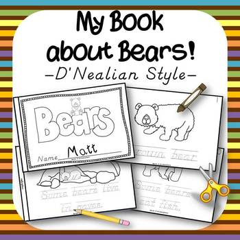 My Bear Book for Kindergarten and 1st Grade {D'Nealian Style}